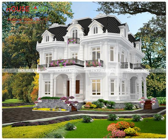 Thiết kế biệt thự cổ điển Pháp 3 tầng