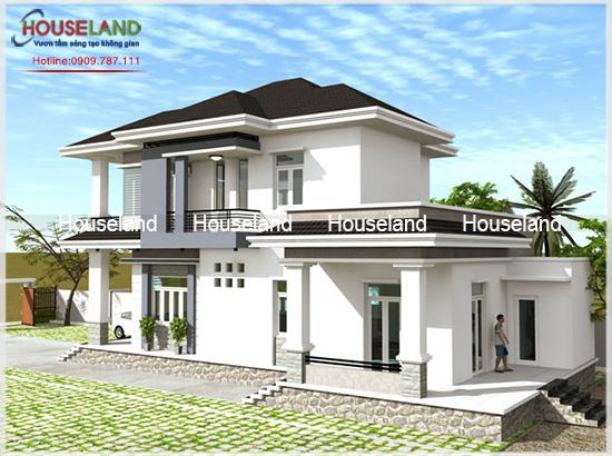 Thiết kế nhà phố 2 tầng mái thái hiện đại