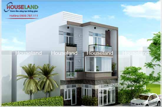 Thiết kế nhà phố đẹp 3 tầng mặt tiền 8m-NPĐ010