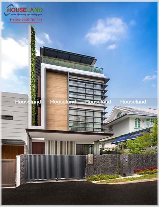 Xây dựng biệt thự phố đẹp với mảng tường màu xanh