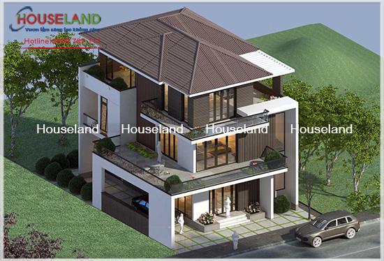 Dự án thiết kế biệt thự phố 3 tầng 130m2 nhà anh Chung TPHCM