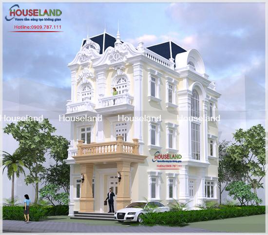 Dự án thiết kế biệt thự cổ điển pháp 3 tầng nhà anh Gia TPHCM