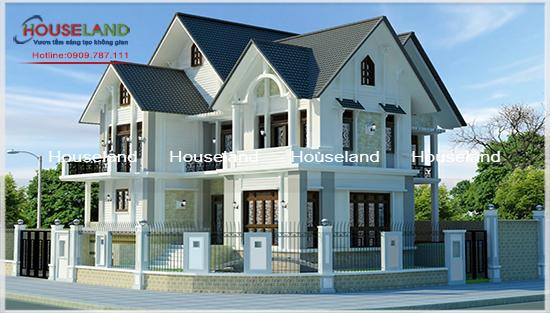 Mẫu biệt thự mái thái 2 tầng đẹp phong cách hiện đại