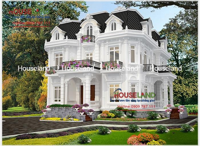 Mẫu biệt thự cổ điển 2 tầng kiểu Pháp đẹp thu hút