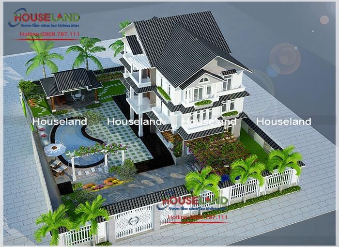 Thiết kế biệt thự 17x25m không gian sân vườn xanh mát
