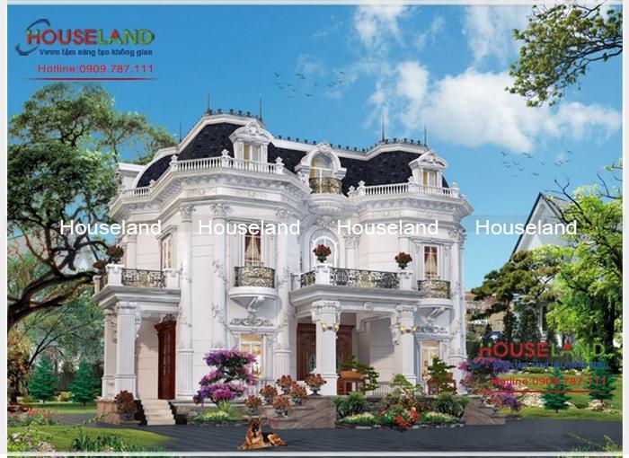 Mẫu thiết kế biệt thự cổ điển kiểu pháp 2 tầng sang trọng
