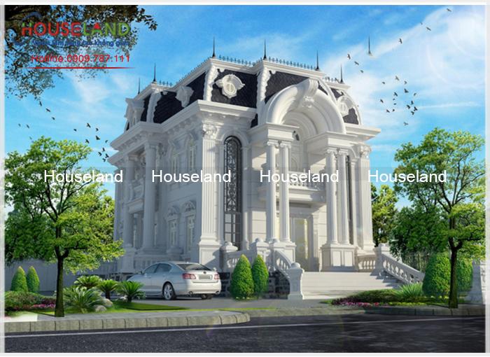 Thiết kế biệt thự cổ điển sang trọng kiểu Pháp-BTCĐ001
