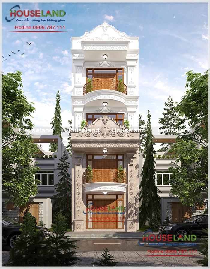 Thiết kế nhà phố 5x19m đẹp, nhà phố cổ điển, nhà phố tân cổ điển