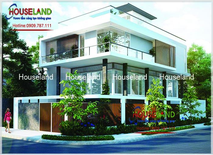 Thiết kế biệt thự phố 2 mặt tiền hiện đại, biệt thự hiện đại, biệt thự 3 tầng