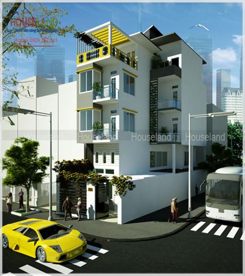 Thiết kế nhà phố hiện đại 2 mặt tiền đẹp